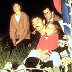 Gruentzig and his daughter Sonja at bonfire at 1980 PTCA Course in Zurich