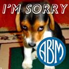 Sad puppy with ABIM logo
